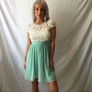 White lace & Teal Chiffon dress